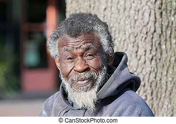 Homeless old African American man