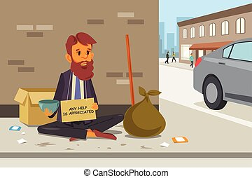 Homeless Panhandler on the Street - A vector illustration of...