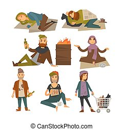 Homeless people, beggars and bum vagrants vector flat...