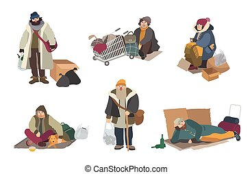 Homeless people. cartoon flat characters set illustration.