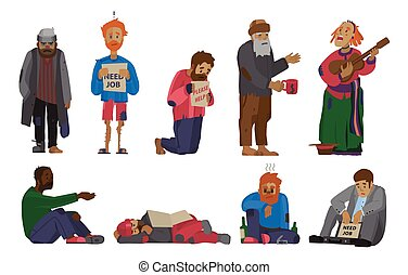 Homeless people characters cadger set unemployment men needing help bums and hobos stray vector illustrations.
