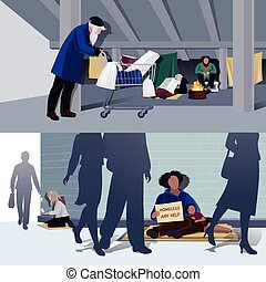 Homeless People Flat Compositions - Homeless people flat...