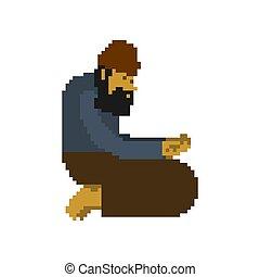 Homeless pixel art. Beggars 8 bit. digital Poor. bum hobo...