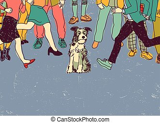 Homeless poor dog on street crowd people. Color vector illustration. EPS8