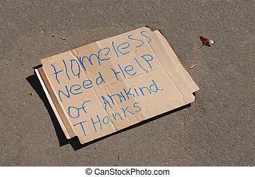 Homeless Sign - Homeless sign on concrete