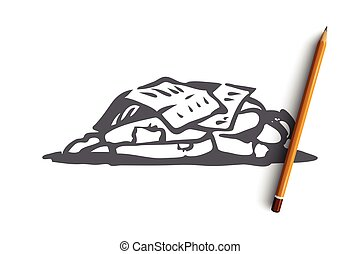 Homeless, sleep, outdoor, poor, miserable concept. Hand drawn homeless man sleeping outdoor concept sketch. Isolated vector illustration.