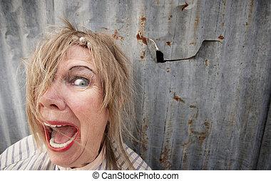 Homeless Woman Screaming - Senior homeless woman with too ...