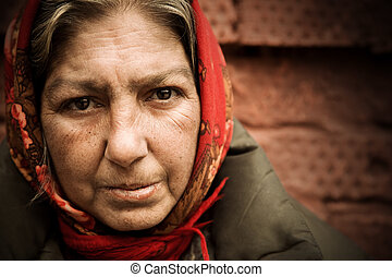 homeless woman - special toned photo f/x, focus point on ...