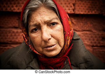 homeless woman - street-life female portrait, selective...
