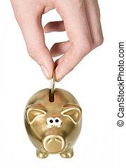 homem, é, pôr, moeda, para, dourado, caixa dinheiro
