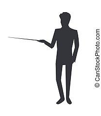 homem, ícone, dar, informação, ligado, vetorial, ilustração
