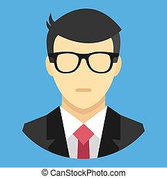homem, ícone, vetorial, terno negócio