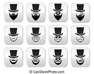 homem, óculos, barba, chapéu