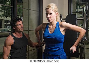 homem, 11, exercitar, mulher