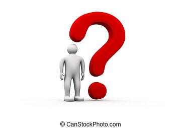 homem, 3d, pergunta, vermelho, marca