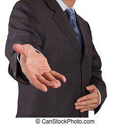 homem, abertos, negócio, mão