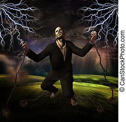 homem, acorrentado, para, chão, com, tempestade, em, fundo