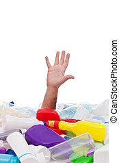 homem, afogamento, em, plástico, recipients, pilha