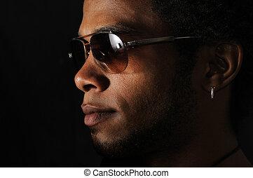 homem africano, rosto