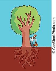 homem, aguando, árvore grande, com, raizes