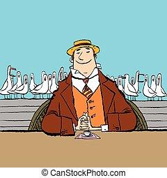 homem, alegre, retro, mar, restaurante