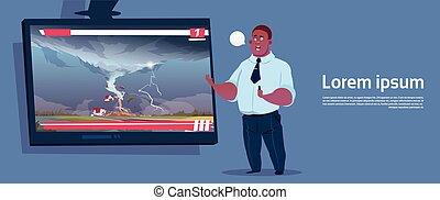 homem americano africano, guiando, viver, tv, transmissão,...