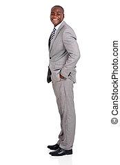 homem, americano africano, negócio