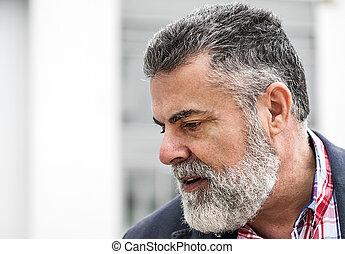 homem, antigas, atraente, barba