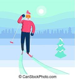 homem, antigas, esquiador