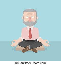 homem, antigas, negócio, relaxamento