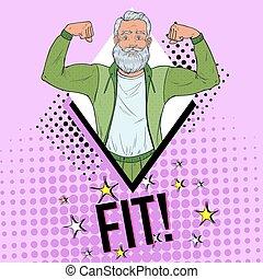 homem, arte, saudável, muscles., mostrando, ilustração, estilo vida, vetorial, estouro, maduras, poster., grandfather., forte, sênior, feliz
