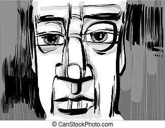 homem, artisticos, desenho, ilustração, rosto