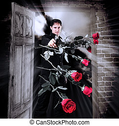 homem, assassino, com, arma, e, rosas vermelhas