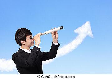 homem, através, telescópio, negócio, olha
