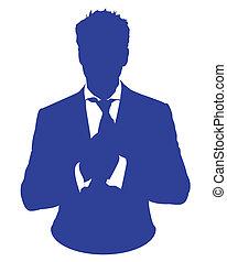 homem, avatar, terno negócio