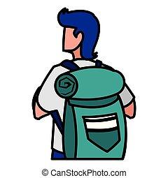 homem, aventuroso, travelbag