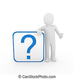 homem azul, pergunta, 3d, marca