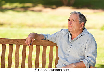 homem, banco, Idoso, sentando