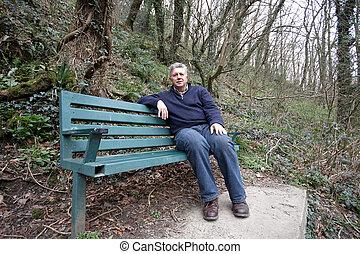 homem, banco, maduras, sentando