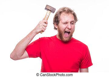 homem, banging, um, martelo, cabeça