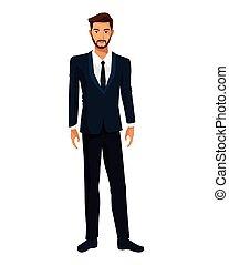 homem, barbudo, executivo, terno negócio