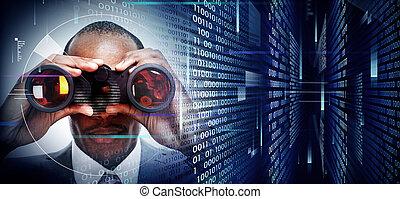 homem binóculos, ligado, tecno, fundo