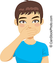 homem, boca covering, com, mão