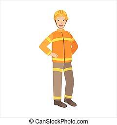 homem, bombeiro, parte, feliz, pessoas, e, seu, profissões,...
