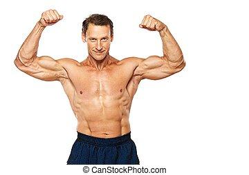 homem, bonito, isolado, muscular, white.