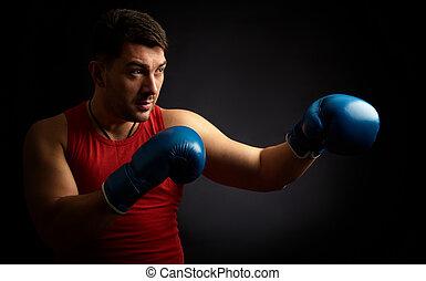 homem, boxe, ligado, experiência preta