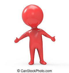 homem, braços estendidos, vermelho, 3d