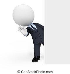 homem, branca, 3d, pessoas negócio