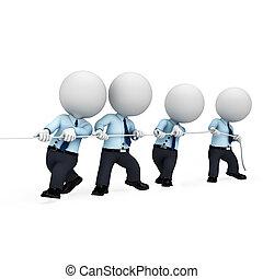 homem, branca, 3d, serviço, pessoas
