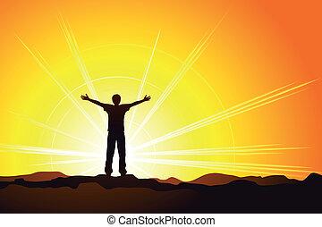 homem, cópia, pôr do sol, silueta